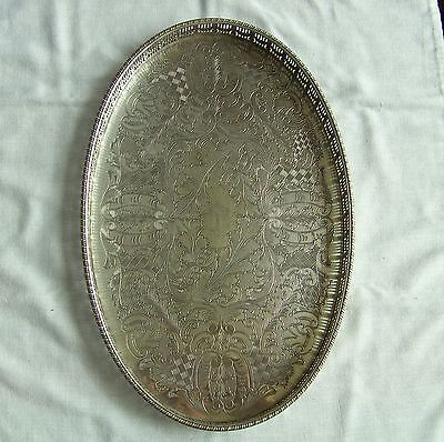"""Chased Viners Of Sheffield Silver Plated Oval Gallery Tray  15"""" X 10"""" X 1.25"""""""