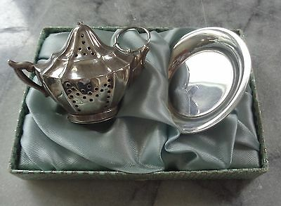 Vintage Krew Sterling Tea Ball and Plate in Original Box