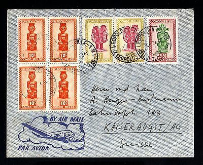 15920-BELGIAN CONGO-AIRMAIL COVER LEOPOLVILLE to KAISERAUGST (switzerland) 1954.