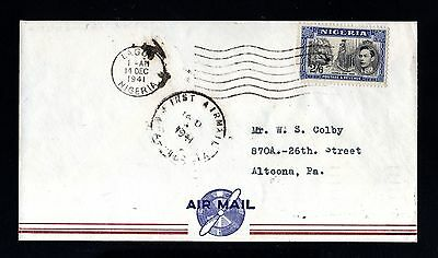 15235-NIGERIA-first AIRMAIL COVER LAGOS to ALTOONA (usa) 1941.WWII.British.