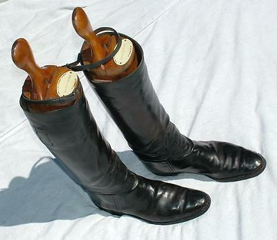 Pair Of Antique Leather Riding Boots With Quality Maxwell Wooden Boot Trees