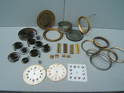 Mantel clock parts vintage mainsprings brass rear doors + more