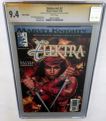 Elektra #v2 #3 Nude Edition CGC 9.4 SS 2x Signed by Greg Horn and Bendis (2001)