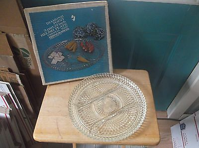 Clear Glass Indiana Glass Diamond Point Pattern Round Relish Plate in Box