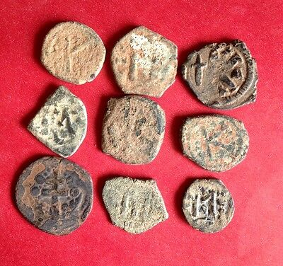Lot Of Uncleaned Desert Byzantine Roman Coins From Israel  !