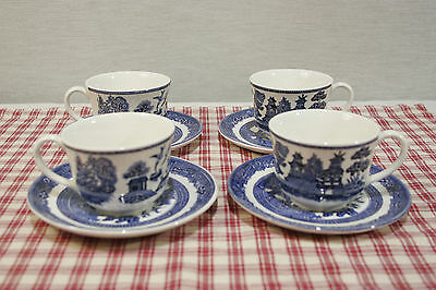 LOT of Four Johnson Bros. Blue Willow Demitasse Cups and Saucers England  MINT!