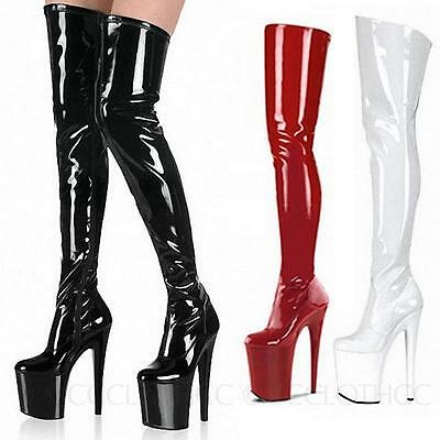 Patent Boots Crossdresser Erotic Mens Womens Pole dance platform Shoes Plus Size