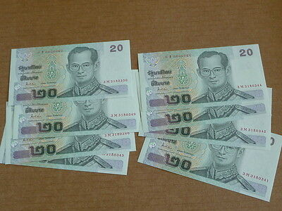 Thailand 20 Baht King Rama Ix 2003 10 Consecutively Numbered Notes Ch Cu 1847J