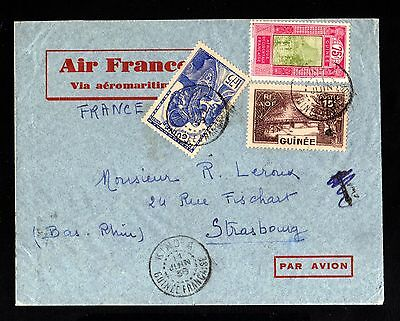 15206-FRENCH GUINEA-AIRMAIL COVER KINDIA to FRANCE.1938.WWII.FRENCH colonies.AOF