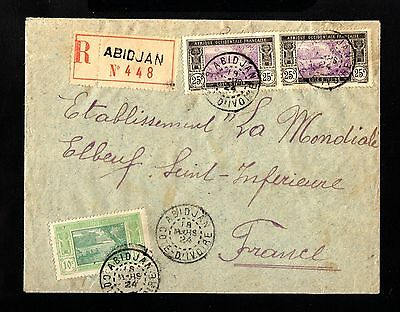 15288-COTE D´IVOIRE-REGISTERED COVER ABIDJAN to FRANCE.1924.FRENCH colonie.AOF