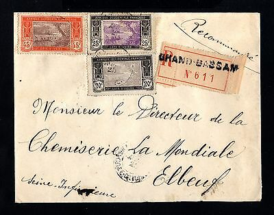 15289-COTE D´IVOIRE-REGISTERED COVER GR.BASSAM to FRANCE.1925.FRENCH colonie.AOF
