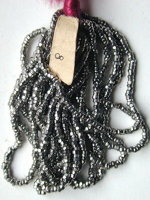 Antique French Steel Cut Silver 15/0 Micro Seed Beads Orig Tag Hank LN (7170612)