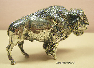 925 SILVER BISON BUFFALO MINIATURE 2.75 x 1.75 x 1 INCHES 86.10gr. MADE IN ITALY