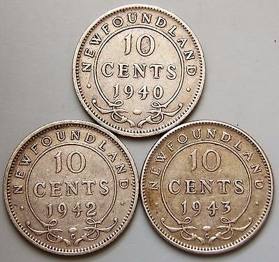 1940 1942  & 1943 Newfoundland Canada Canadian 10 Cent Silver Coins - Lot Of 3