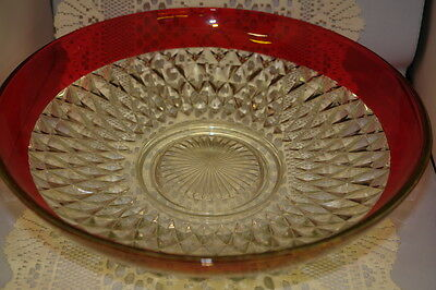 Large Vintage Indiana Glass Ruby Flash Diamond Point Chip/Fruit Bowl 13-1/2 Inch