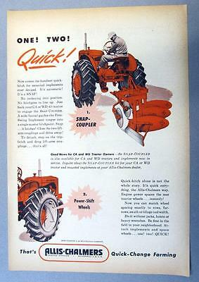 Original 1954 Allis Chalmers Tractor Model CA  & WD-45 Ad ONE TWO QUICK!