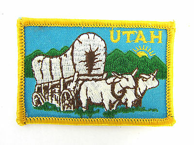 Vintage Utah Patch Wagon Trail Cattle Embroidered  3 x 2""