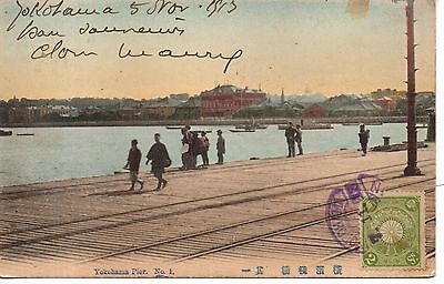 Great Japan Yokohama Pier No.1 Postcard. Used 1913 to France. Great condition