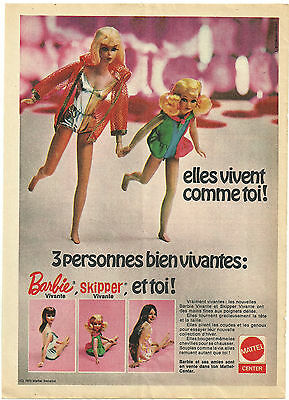 BARBIE and SKIPPER 1970 magazine ad ~ FRENCH LANGUAGE ~ Mattel doll