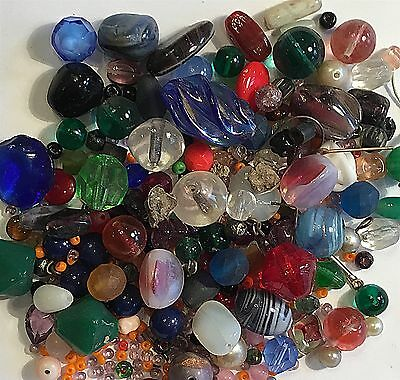 Vintage Glass Beads Lot#gm  Fabulous Over 150 Pieces Perfect For Craft Work