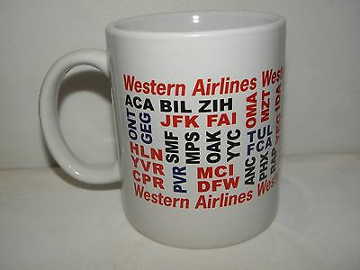 Western Airlines Destinations Coffee Cup Mug Airplane Pilot Mechanic Great Gift