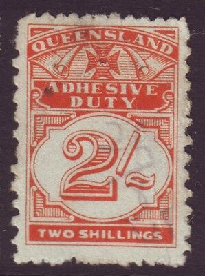 Queensland Duty Stamp- 2/-  Fiscal Cancel (A6727)