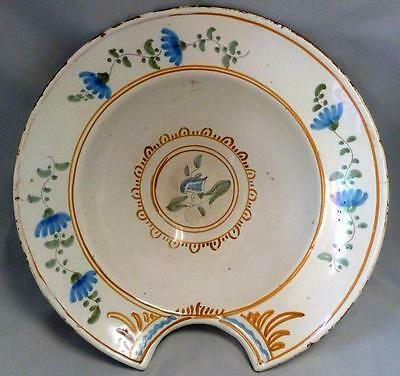 Shaving Bowl, Antique French Portuguese Faience, Blood Letting, Hand painted