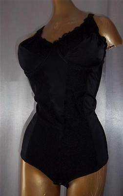 CURVACEOUS LACY BLACK Vintage SLIMMING BODY SHAPER GIRDLE - sz 38 B