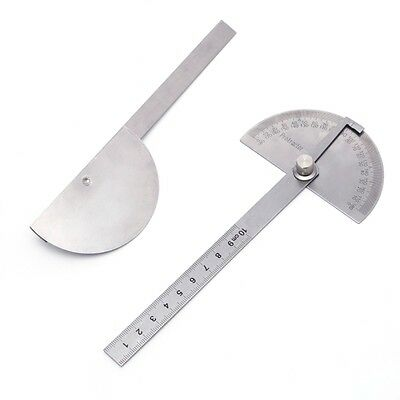 10cm Round Head 180° Protractor Angle Finder Stainless Steel Measuring Ruler