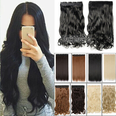 Real Thick Clip in Hair Extensions 3/4 Full Head 100% Natural Synthetic as Human