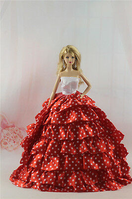 Fashion Handmade Princess Dress Wedding Clothes Gown for Barbie Doll L81