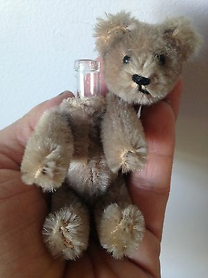 "RARE  Schuco Miniature 3"" Jointed Perfume Caramel Mohair Brown Bear NICE No Res"