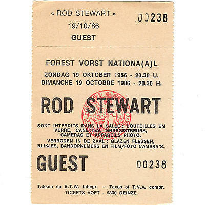 ROD STEWART Concert Ticket Stub BRUSSELS BELGIUM 10/19/86 FOREST VORST NATIONAL