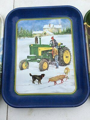 JOHN DEERE Sleigh Ride with Daddy METAL TRAY 1999 Brand New Closeouts JD 730