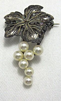 Vintage Sterling Grape Leaf Cluster Genuine Pearl Brooch  BE444