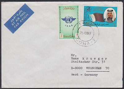 1987 Qatar Cover to Germany, Aviation Luftfahrt Independence [ca735]