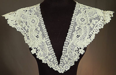 Vintage Victorian Antique Large White Lace Polka Dot Floral Shawl Collar Trim
