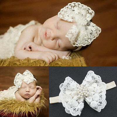 Kids Girl Baby Headband Toddler Lace Bow Flower Infant Hair Band Accessories