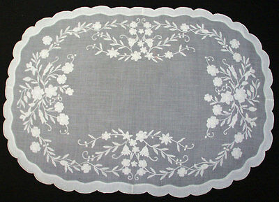 Antique Madeira Placemats Floral Appliqued Organdie Set Of 12 Hand Embroidered