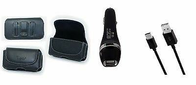 Car Charger+USB Cable+Belt Case Pouch Holster with Clip/Loop for ZTE Axon 7 mini