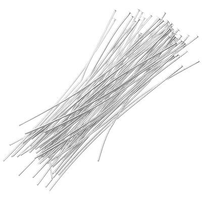 Silver Plated Head Pins 1 Inch 24 Gauge (50)