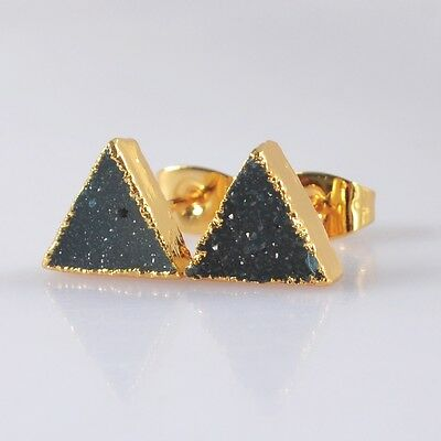 8mm Triangle Agate Druzy Geode Stud Earrings Gold Plated H89768