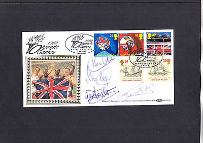 1992 Europa Olympic Games Benham FDC signed by 100 meter relay team. Cat £75