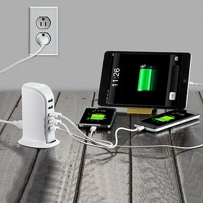 5 Port Multi USB Charger Desktop Rapid Station Charging Set For Smart Phone New