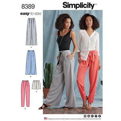 Simplicity Sewing Pattern Misses' Pants Easy-To-Sew Size 6- 22 8389