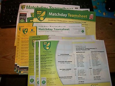 Norwich City Teamsheets  2006 / 2007  Post Free