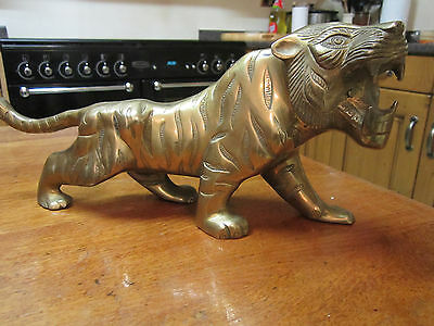Old Model of a Bengal Tiger Moulded in Solid Brass with Superb Detail c1975