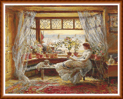 """'READING BY THE WINDOW' Cross Stitch Chart (18¾""""x14¾"""") Victorian/Sea/Detailed"""