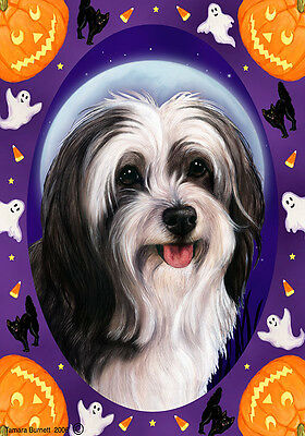 Garden Indoor/Outdoor Halloween Flag - Black & White Tibetan Terrier 124781