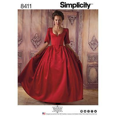 SIMPLICITY SEWING PATTERN MISSES Women's 18th Century Costume SIZE 6 - 22 8411